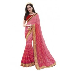 Deals, Discounts & Offers on Women Clothing - Khantil Pink Shaded Jari Smock Georgette Full Saree