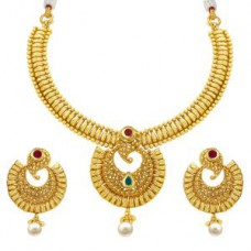 Deals, Discounts & Offers on Earings and Necklace - Sukkhi Attractive Gold Plated Necklace Set For Women