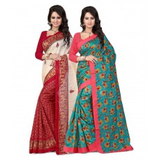 Deals, Discounts & Offers on Women Clothing - The Lugai Fashion Multicolored Bhagalpuri Silk Saree - Pack Of 2