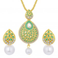 Deals, Discounts & Offers on Earings and Necklace - Sukkhi Ethnic Gold Plated AD Pendant Set For Women