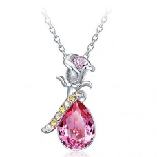 Deals, Discounts & Offers on Earings and Necklace - NEVI Flower Rose Fashion Swarovski Elements Rhodium Plated Choker Pendant Necklace