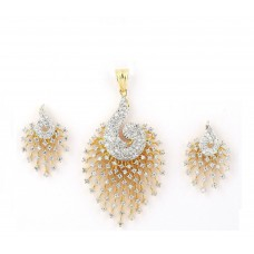 Deals, Discounts & Offers on Earings and Necklace - M Creation Gold Cz Peacock Pendant Set Without Chain for Women