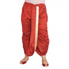 Deals, Discounts & Offers on Men Clothing - Larwa Trendy Maroon Silk Blend Dhoti