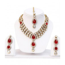 Deals, Discounts & Offers on Earings and Necklace - Lucky Jewellery Antique Red Designer Kundan Necklace Set With Maang Tika