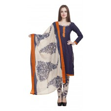 Deals, Discounts & Offers on Women Clothing - Divyaemporio Women'S Faux Cotton Blue And Beige Salwar Suits Dress Material