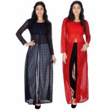 Deals, Discounts & Offers on Men Clothing - Sukuma Combo of 2 Front Slit Fusion Long Kurties