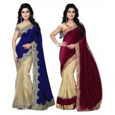 Deals, Discounts & Offers on Women Clothing - Shupriya Multicoloured Velvet Saree Combos