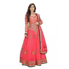 Deals, Discounts & Offers on Women Clothing - Bikaw Embroidered Pink Net Fashion Anarkali Style Party Wear