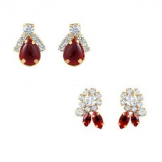 Deals, Discounts & Offers on Earings and Necklace - Oviya Combo Of Ruby Red Ear Studs For Women