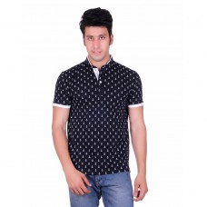 Deals, Discounts & Offers on Men Clothing - Vivid Bharti Collar Printed Cotton T-Shirt