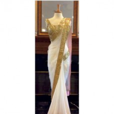 Deals, Discounts & Offers on Women Clothing - Leeps New Designer Fancy Georgette Saree With Golden Border