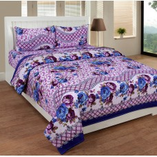 Deals, Discounts & Offers on Home Decor & Festive Needs - Super India 3D Print Purple Double Bed Sheet with two pillow cover 3 pcs