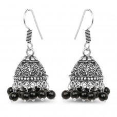 Deals, Discounts & Offers on Earings and Necklace - Johareez 11.23 Grams Black Stone Oxidised Earrings