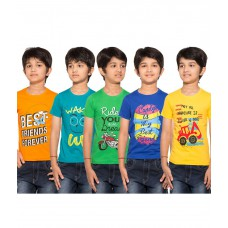 Deals, Discounts & Offers on Kid's Clothing - Maniac Pack of 5 Multicolour Half Sleeves T-Shirts