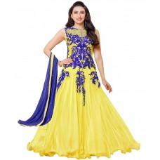 Deals, Discounts & Offers on Women Clothing - Ombresplash Yellow Georgette Semi Stitched Dress Material