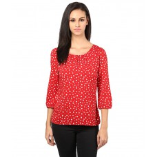 Deals, Discounts & Offers on Women Clothing - The Vanca Red & White Three Fourth Sleeve Printed Top
