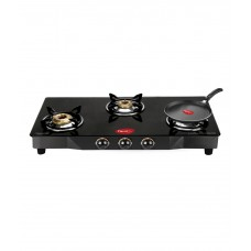 Deals, Discounts & Offers on Home Appliances - Pigeon 3 Burner Brass Glass Gas Stove