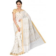 Deals, Discounts & Offers on Women Clothing - Pavechas Polka Print Mangalagiri Silk Cotton Blend Sari