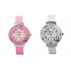 Deals, Discounts & Offers on Women - Glory Combo Of Two-Baby Pink And White Glory Circular Dial Watch For Women