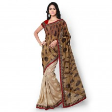 Deals, Discounts & Offers on Women Clothing - Sarvagny Clothings Tan & Brown Jacquard Fashion Saree