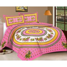 Deals, Discounts & Offers on Home Decor & Festive Needs - Viskar Fab Tex Jaipuri Hand Block Traditional Cotton Double Bedsheet