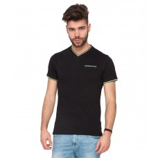 Deals, Discounts & Offers on Men Clothing - Mufti Black V-Neck T Shirt