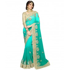 Deals, Discounts & Offers on Women Clothing - Onlinefayda Green Georgette Saree