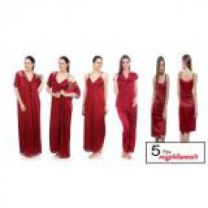 Deals, Discounts & Offers on Women Clothing - Maroon Satin Lycra Nighty