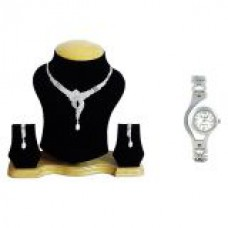 Deals, Discounts & Offers on Women - The Pari Silver Plated Silver Combo Of Necklace SetWatch For Women