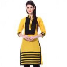 Deals, Discounts & Offers on Women Clothing - Janasya Yellow Printed Cotton Kurti KR109