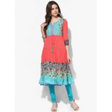 Deals, Discounts & Offers on Women Clothing - Rain & Rainbow Multicoloured Printed Anarkali
