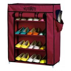 Deals, Discounts & Offers on Furniture - YUTIRITI Fancy 4 Layer Maroon Portable Multipurpose Waterproof Fabric Shoe Rack