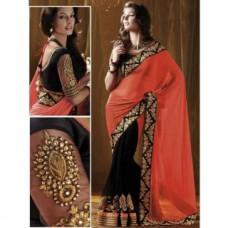Deals, Discounts & Offers on Women Clothing - Fashion Founder Bollywood Replika Nakshi Georgette Orange & Black Saree