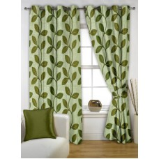 Deals, Discounts & Offers on Home Decor & Festive Needs - Story @ Home Polyester Green Printed Eyelet Window Curtain