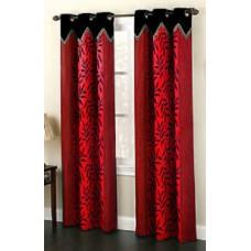 ebay Offers and Deals Online - Homefab India Set of 2 Designer Kolaveri Red Curtains