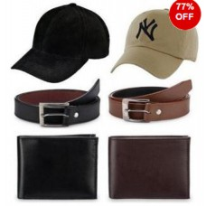 Rediff Shopping Offers and Deals Online - Combo Of 2 Belts, 2 Wallets 2 Sports Caps For Men at Flat 77% off