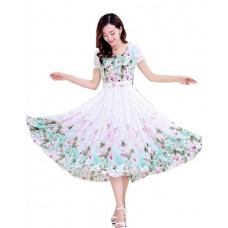 Voonik Offers and Deals Online - White & turquoise Floral Fit & Flare Dress
