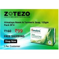 Zotezo Offers and Deals Online - Himalaya Neem & Turmeric Soap 125gm, Pack of 4