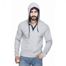 Deals, Discounts & Offers on Men - Men's Silver Hooded T-Shirt at Flat 75% Off