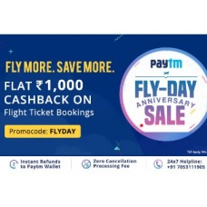 Deals, Discounts & Offers on International Flight Offers - Anniversary Sale : Flat Rs. 1000 Cashback On Flight Bookings [No Minimum Booking Amount]