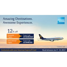 Deals, Discounts & Offers on International Flight Offers - 12% off on Base Fare for all international flights operated by Jet Airways