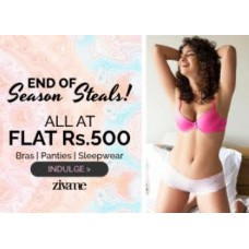 Zivame Offers and Deals Online - End Of Season Sale : Get All at Bras,Panties & Sleepwear at Flat Rs.500