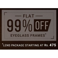Deals, Discounts & Offers on Sunglasses & Eyewear Accessories - Get Flat 99% Off Eyeglasses Frames, starts at Rs. 3 (Pay for the Lenses)