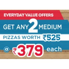 Dominos Pizza Offers and Deals Online - Any 2 Medium Pizzas of Rs. 525 for Rs. 379 + Extra 10% OFF