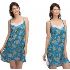 Clovia Offers and Deals Online - SATIN PRINTED BABYDOLL WITH LACY NECK at FLAT Rs. 700 OFF