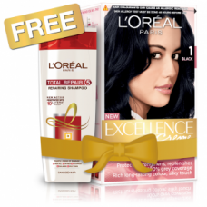 Nykaa Offers and Deals Online - L'Oreal Paris Excellence Creme Hair Color - 1 Black + Free Total Repair 5 Shampoo