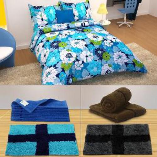 Combo Towel Mat B Wanted: Story @ Home 17 Pc Bed Sheet Set, Door Mat, Hand & Face