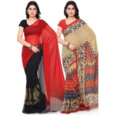 Homeshop18 Offers and Deals Online - Flat 80% off on Surat Tex Corsa Georgette Saree - Set Of 2