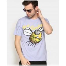 Abof Offers and Deals Online - Kritzels Men Light Purple Printed Regular Fit T-shirt At Just Rs. 280