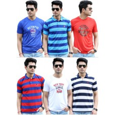 Homeshop18 Offers and Deals Online - 3 Striped Polo T-Shirts With 3 Printed Round Neck T-Shirts